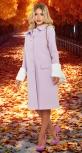 Модное лавандовое пальто со съёмным мехом