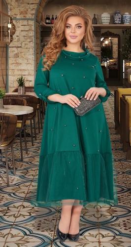 Длинное платье с жемчугом