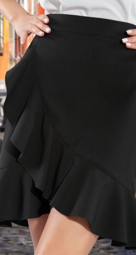 Короткая юбка с имитацией запаха и воланом № 4374
