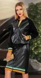 Кожаный костюм с юбкой № 4529