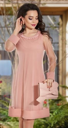 Эффектное двухслойное платье№ 3817