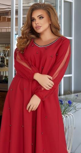Длинное платье с жемчугом и красивыми рукавами