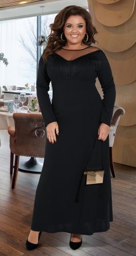 Длинное чёрное платье № 42731