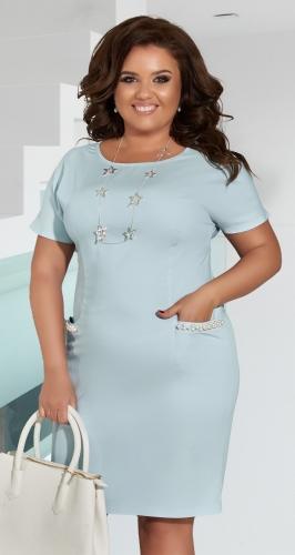 Короткое джинсовое платье с жемчугом № 395341