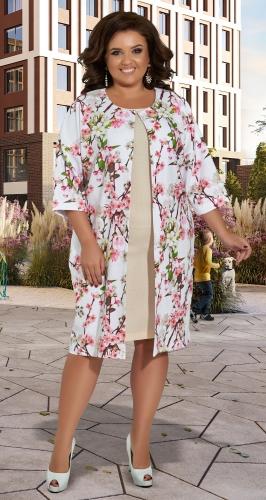 Свободный льняной жакет и платье № 422331