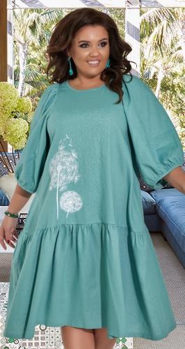 Свободное льняное платье с вышивкой № 427941