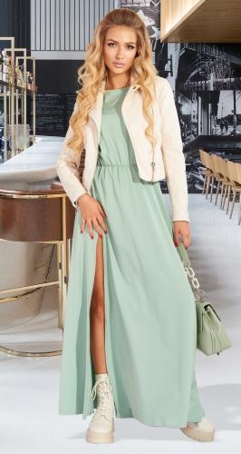 Шелковое платье с разрезом № 4563