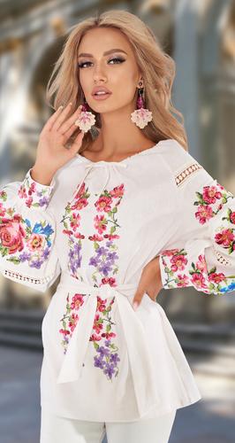 Блуза с вышивкой, льняная, молочная