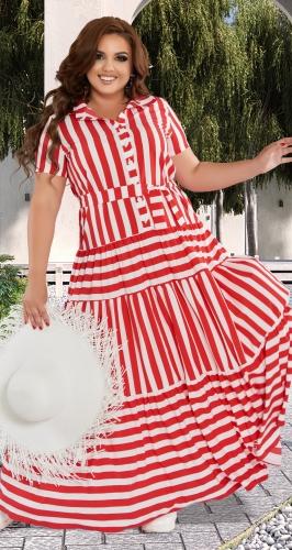 Лёгкое платье в полоску с оборками № 42531
