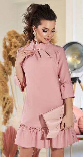 Свободное платье с оборкой № 3493