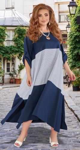 Свободное комбинированное платье
