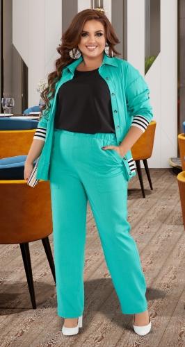 Льняной костюм-тройка № 44451
