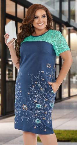 Льняное платье с кружевом № 44291