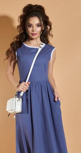 Длинное льняное платье № 4284