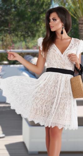 Белое гипюровое платье № 44373