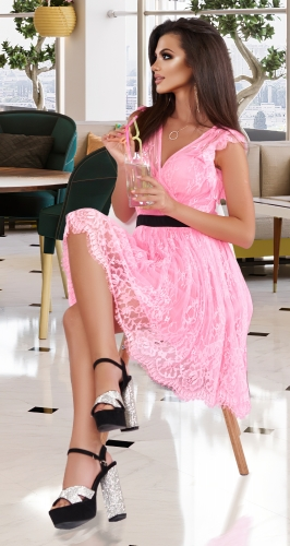 Трендовое РОЗОВОЕ гипюровое платье № 44373
