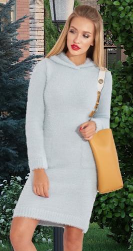 Вязаное платье АЛЬПАКА с капюшоном № 4432