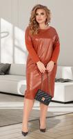 Стильное платье с эко-кожей