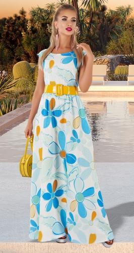 Льняное длинное платье без рукавов № 4411