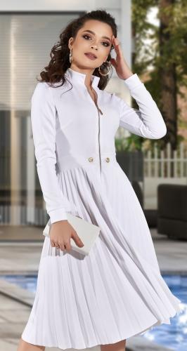 Стильное белое платье гофре № 4304