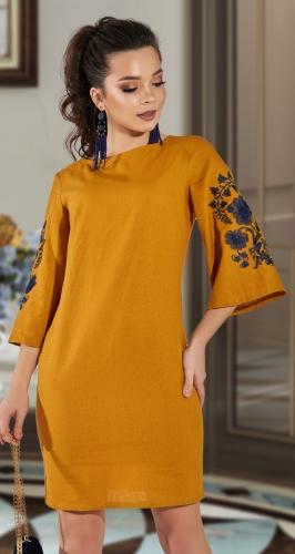 Льняное платье с красивой вышивкой № 42003