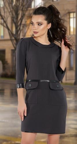Стильное платье с эко-кожей № 1382