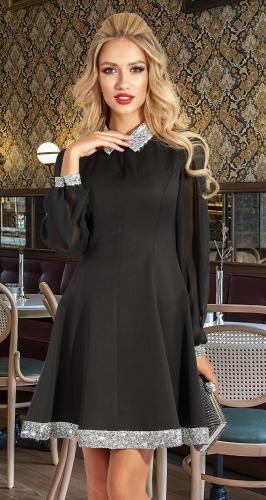 Черное платье с кристаллами № 4583