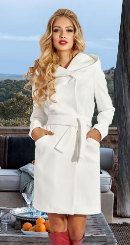Пальто приталенного кроя с капюшоном № 4579