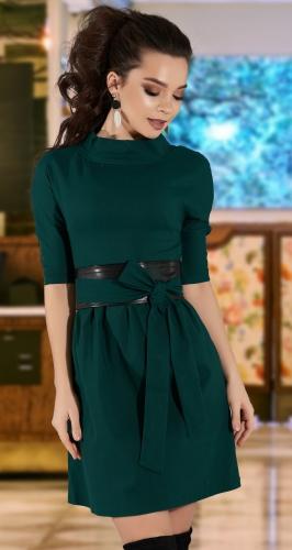 Платье с кожаной отделкой № 3828