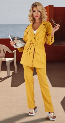 Льняной костюм с пиджаком-сафари № 4460