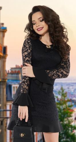 Черное гипюровое платье № 3842