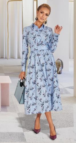 Стильное голубое платье № 4585