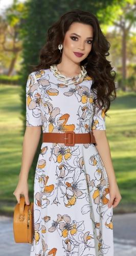 Белое платье в цветах № 39283