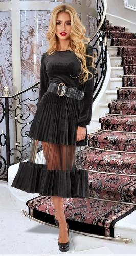 Красивое бархатное платье гофре № 4615