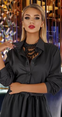 Стильное черное платье № 4336