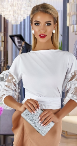 Шелковая блузка - трансформер № 4478