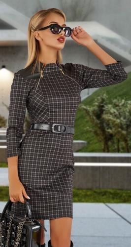 Стильное короткое платье в клетку № 3465,серо-бежевое