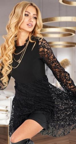 Чёрное гипюровое платье № 3827