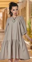 Свободное льняное платье № 4279