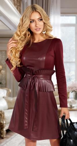 Комбинированное платье со съёмным поясом № 4614