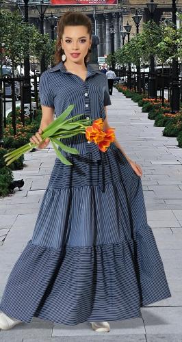Лёгкое платье в полоску с оборками № 4253