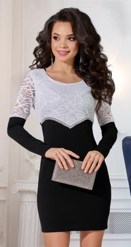 Чёрно-белое платье № 3866