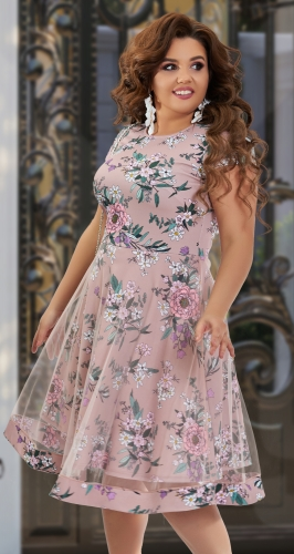 Красивое платье с двойной юбочкой № 43181