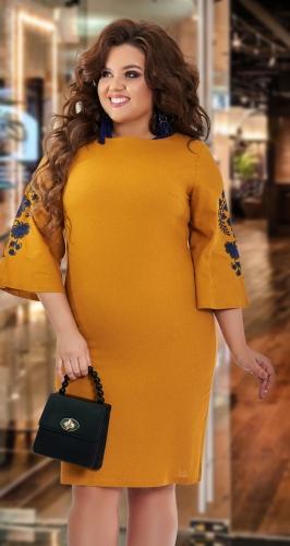 Льняное платье с красивой вышивкой № 420031