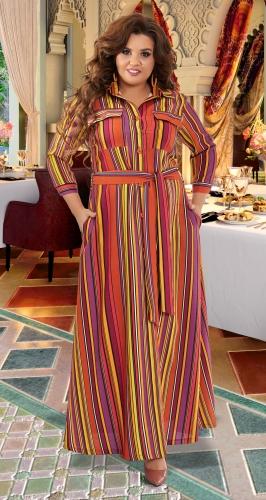 Льняное платье в полоску № 42981