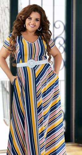 Стильное платье в полоску № 43061