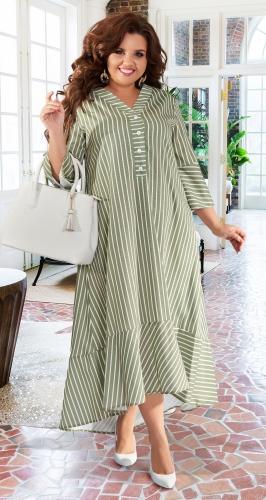 Льняное платье в полоску № 43201