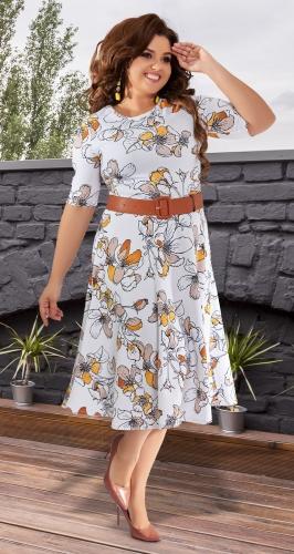 Белое платье в цветах № 392831