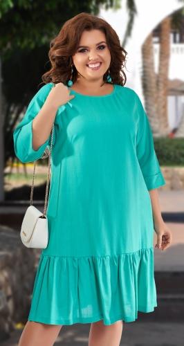 Льняное платье со свободным рукавом № 42911