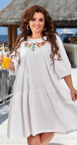 Свободное льняное платье с вышивкой № 427931